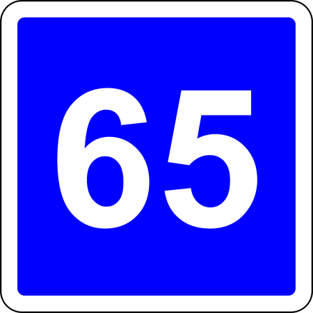 Road sign with suggested speed of 65 kmh