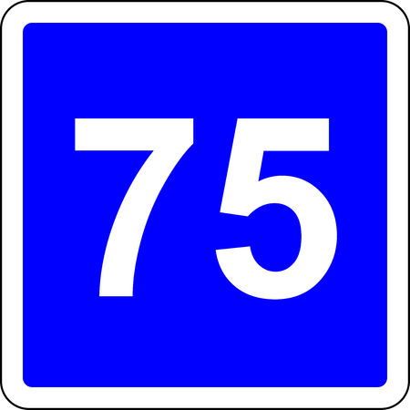 Road sign with suggested speed of 75 kmh Stock Photo