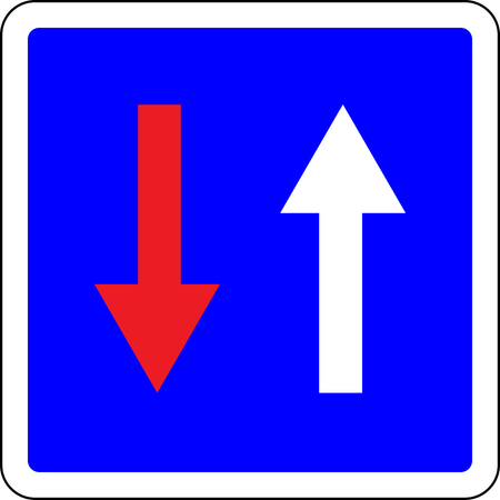 Priority over oncoming vehicles blue road sign