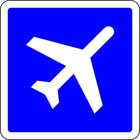 Airport blue sign on white background Stock Photo
