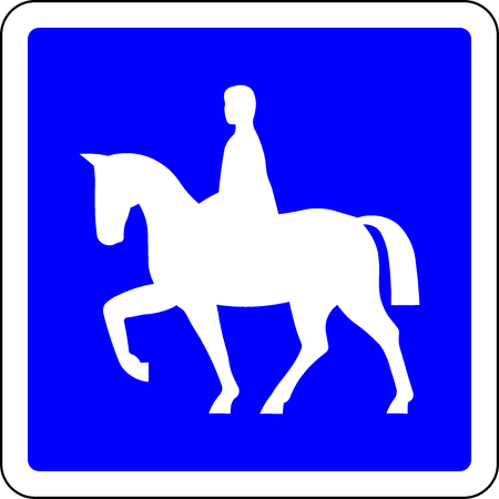 Horse riders allowed blue road sign