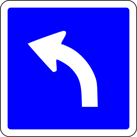 Turn Left ahead blue road sign Stock Photo
