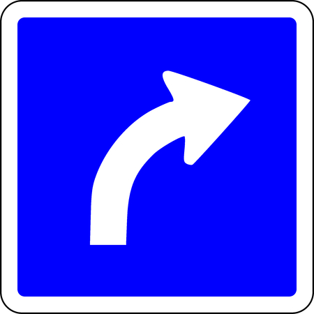 Turn Right ahead blue road sign Stock Photo