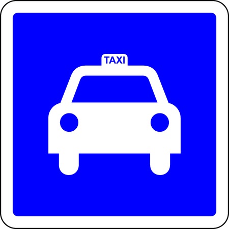 Taxi blue road sign