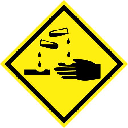 Yellow hazard sign with corrosive substances symbol