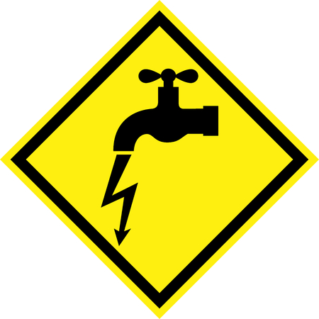 Yellow hazard sign with electric leakage symbol