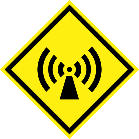 Yellow hazard sign with non-ionizing radiation symbol Stock Photo