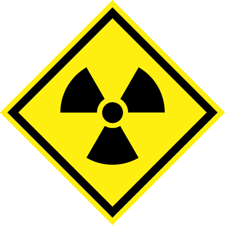 Yellow hazard sign with radiation symbol