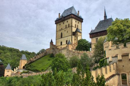 Landscape view of Karlstein castle, Czech Republic - HDR