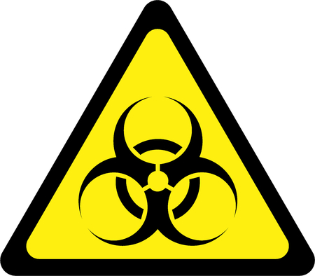 Yellow warning sign with biohazard substances symbol