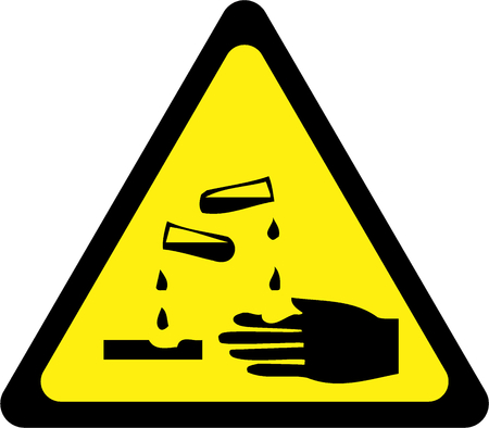 Yellow warning sign with corrosive substances symbol
