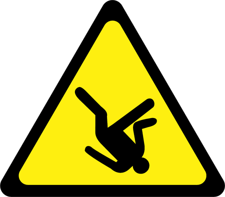 Warning sign with falling man Banque d'images