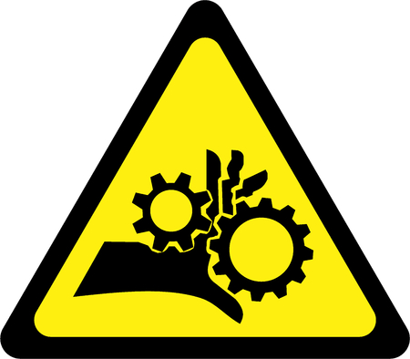 Warning sign with rotating parts symbol