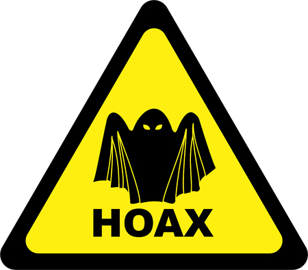 Warning sign with hoax symbol
