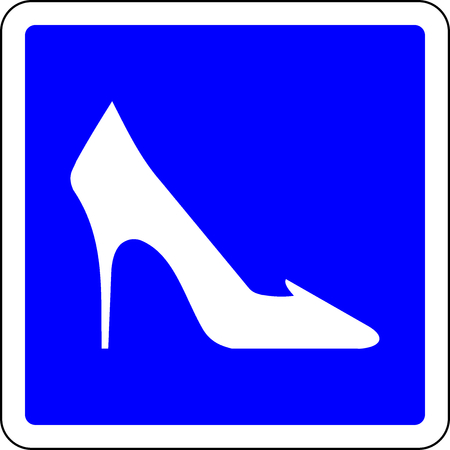 High heel shoes allowed blue sign Stock Photo