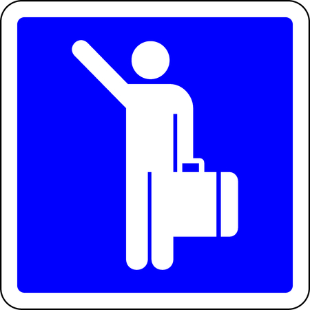 Hitch-hiking allowed blue sign Stock Photo