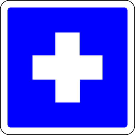 First aid available blue sign Banque d'images
