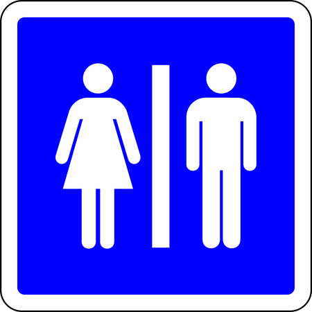 Toilets available blue sign