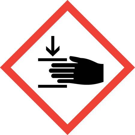 Hazard sign with press machine symbol Imagens