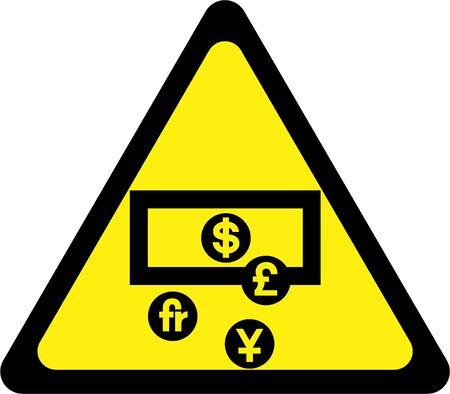 Warning sign with money symbol 版權商用圖片