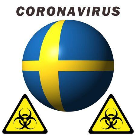 Coronavirus hazard sign on Sweden flag