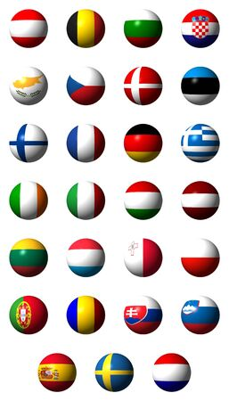 Collage of flags of the 27 EU countries without labels