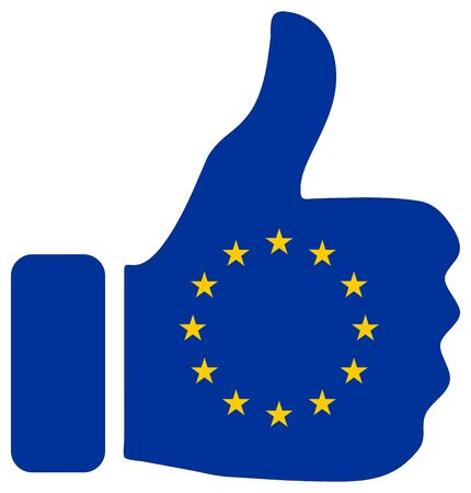Thumbs up sign with flag of European Union (EU)