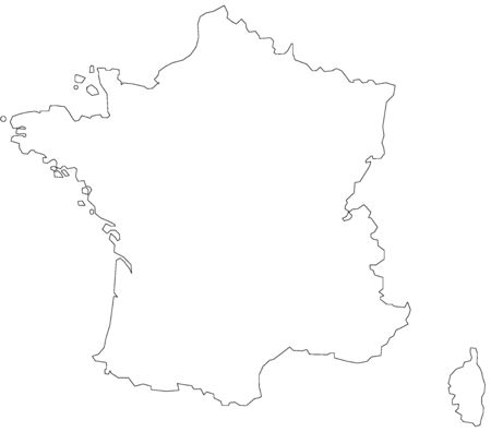 Map of France filled with white color