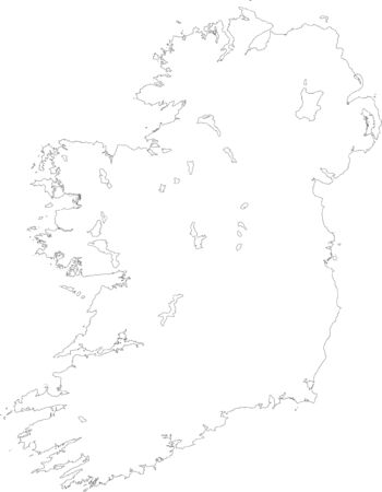 Map of Ireland filled with white color