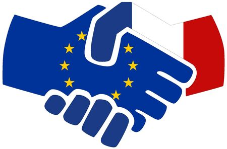 EU - France / Handshake, symbol of agreement or friendship Archivio Fotografico