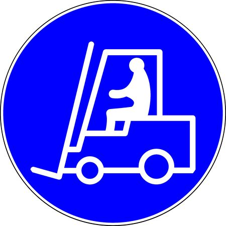 Forklift blue sign on white background