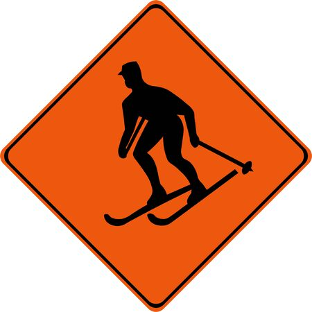 Warning sign with skier symbol