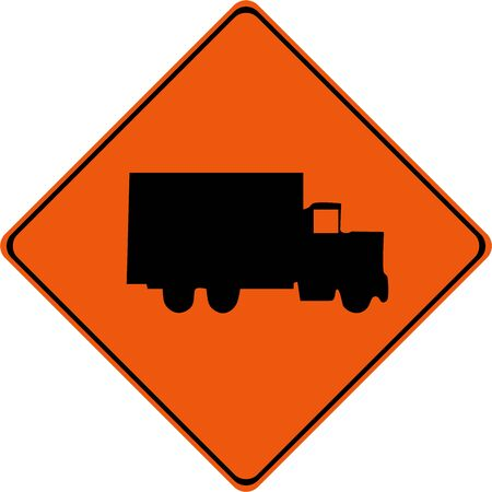 Warning sign with truck symbol