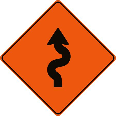 Warning sign with winding road symbol Archivio Fotografico
