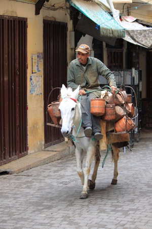 Fez, Morocco - May 16, 2013: Man transporting heavy loads on a donkey through the streets of Fez in Morocco