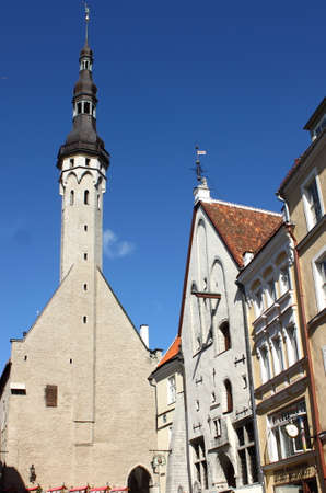 TALLIN, ESTONIA, AUGUST 14, 2017: Scenic view of Tallin with the old Town Hall. Estonia Editoriali