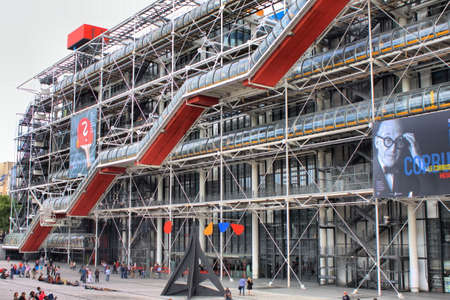 Paris, France - July 29, 2018: Facade of the Centre of Georges Pompidou in Paris, France. The Centre of Georges Pompidou is one of the most famous museums of the modern art in the world Editoriali