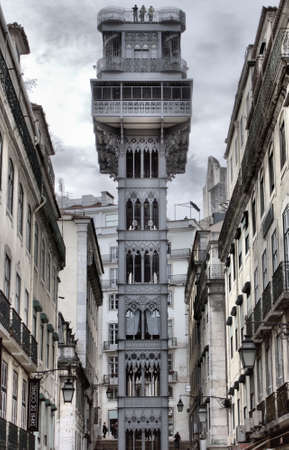 Lisbon, Portugal - February 23, 2019: The Santa Justa Lift also called Carmo Lift is an elevator in Lisbon Editoriali