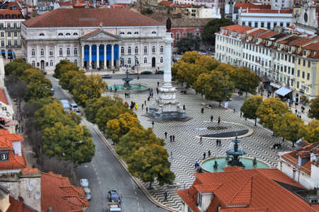 Dom Pedro IV square with fountain at Baixa district in Lisbon, Portugal