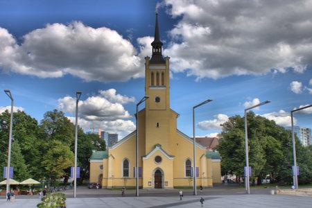Tallinn, Estonia - August 15, 2017: Church of St. John Jaani Kirik. Large Lutheran Parish Church dedicated To St. John The Evangelist, disciple Of Jesus Christ