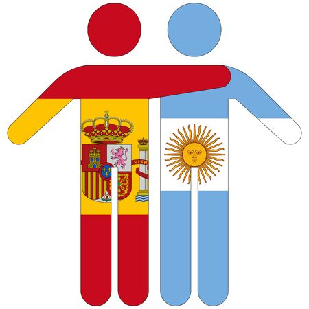 Spain - Argentina / friendship concept on white background