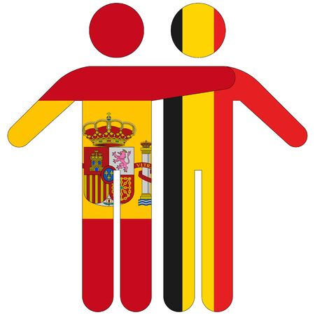 Spain - Belgium / friendship concept on white background