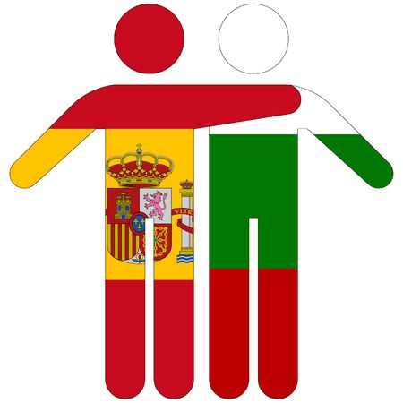 Spain - Bulgaria / friendship concept on white background