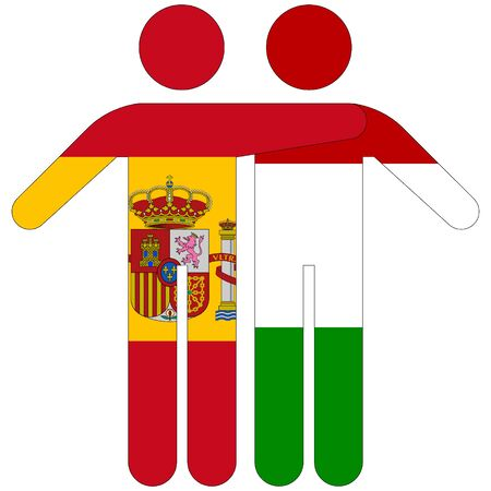Spain - Hungary / friendship concept on white background