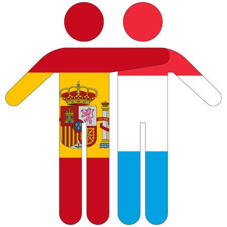 Spain - Luxembourg / friendship concept on white background