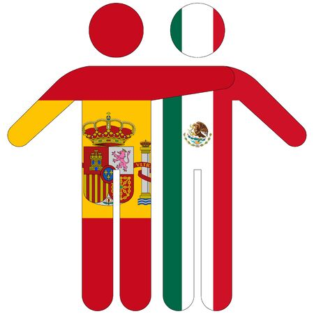 Spain - Mexico / friendship concept on white background