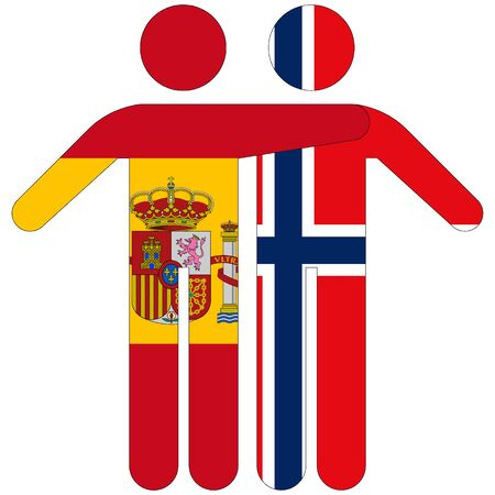 Spain - Norway / friendship concept on white background