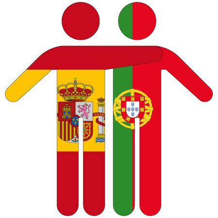 Spain - Portugal / friendship concept on white background