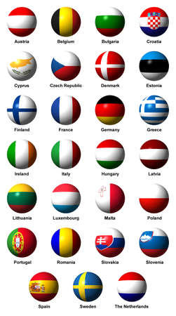 Collage of flags of the 27 EU countries with labels Standard-Bild