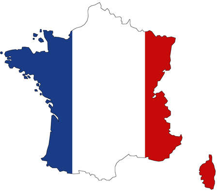 Map of France with official flag colors